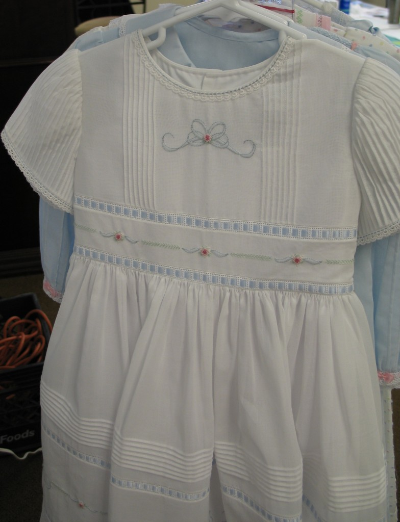 White with Blue Swiss Voile Dress